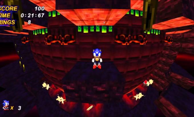 Pantallazo (retocado) de una demo de tecnología de Sonic X-Treme